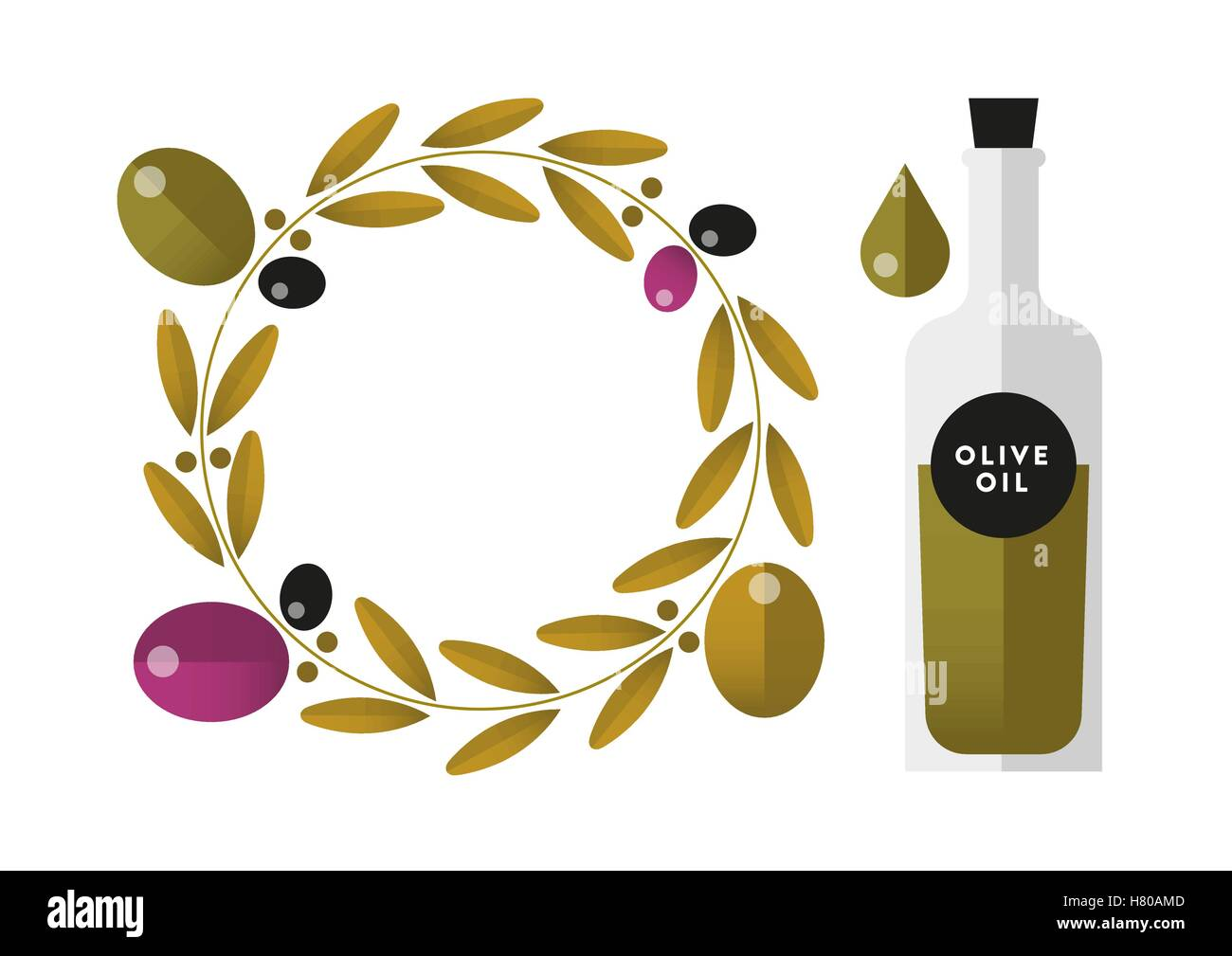 Set / collection of isolated flat vector olives and olive oil bottle with gradient - Stock Vector
