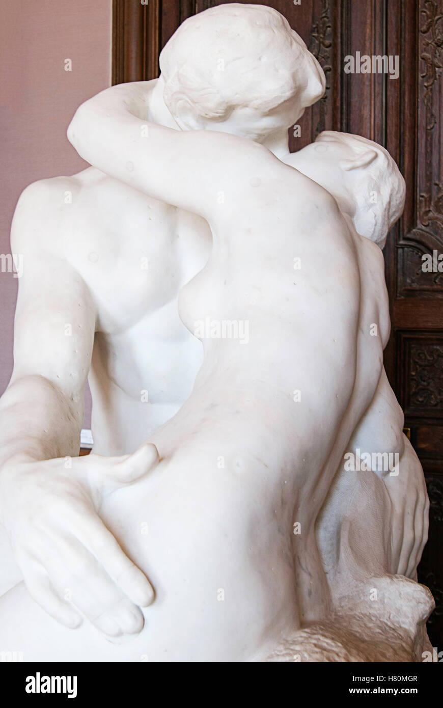 The Kiss by Auguste Rodin at the Rodin Museum in Paris, France. Stock Photo