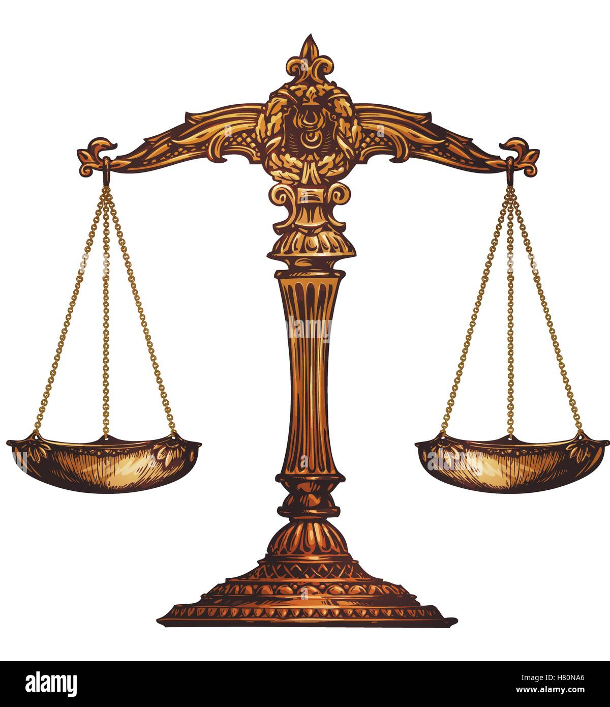 Scales of justice isolated. Vector illustration - Stock Vector