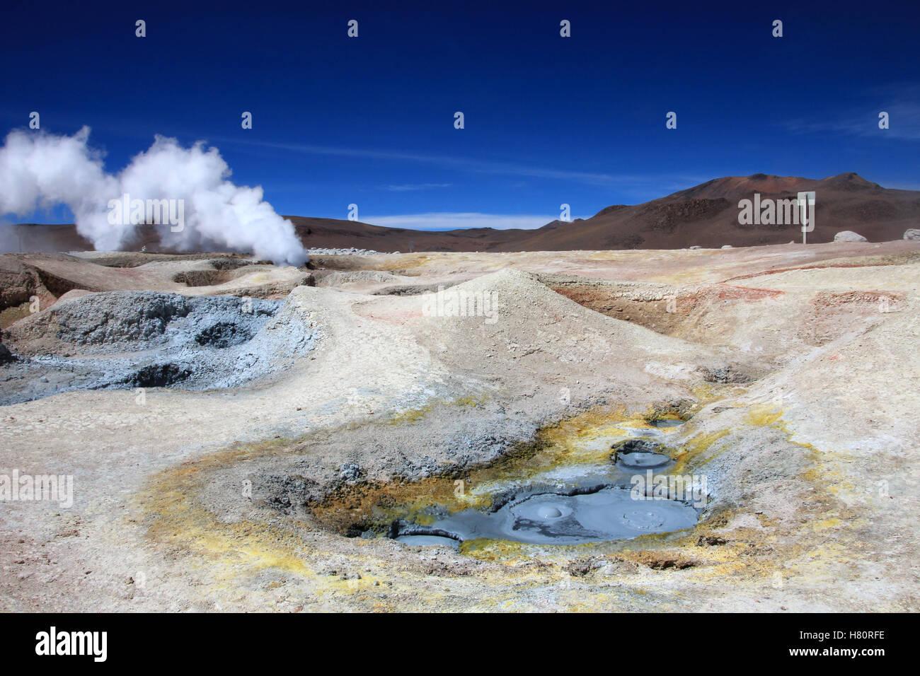 Sol de manana geyser field, Bolivia - Stock Image