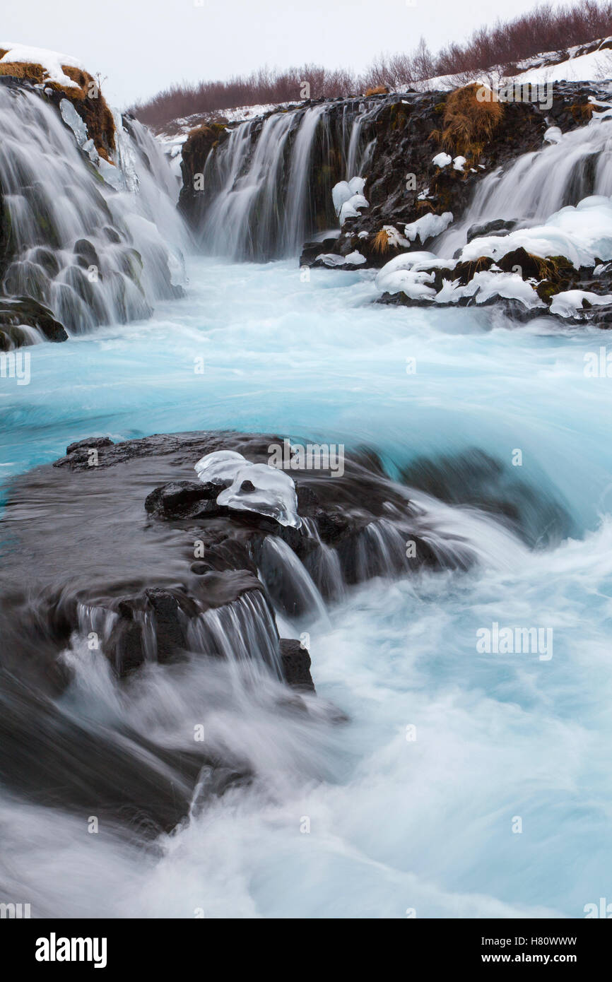 Bruarfoss waterfall on the Bruara river in winter, Iceland - Stock Image