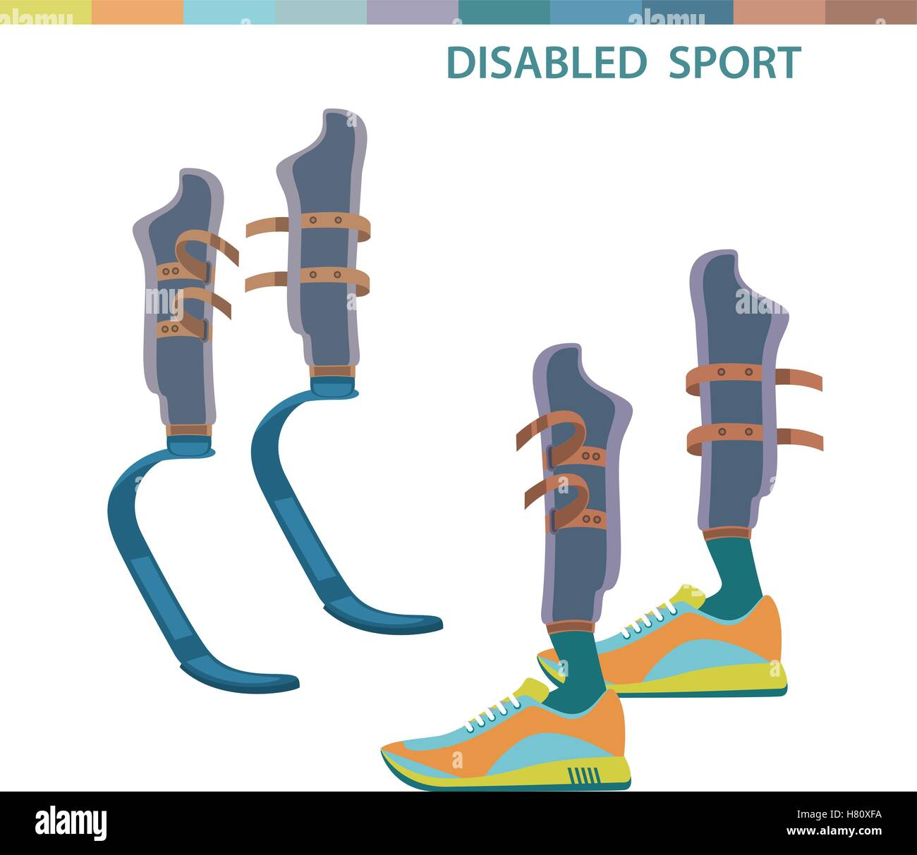 Disabled sports invalid athletes competition symbols. Sporting the lower limbs. isolated vector illustration Stock Vector