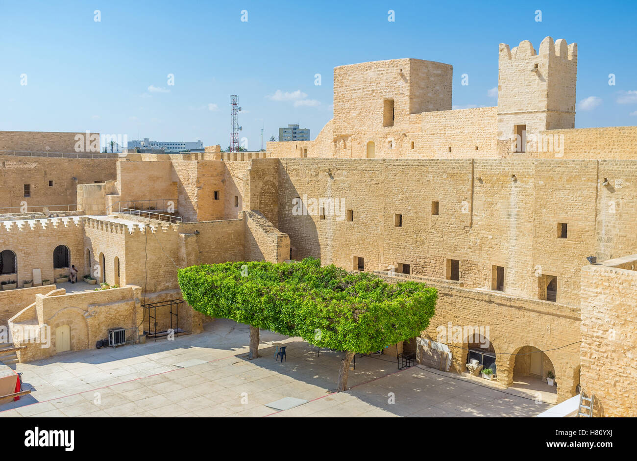 Nowadays the old stronghold serves as the museum, Monastir, Tunisia. - Stock Image