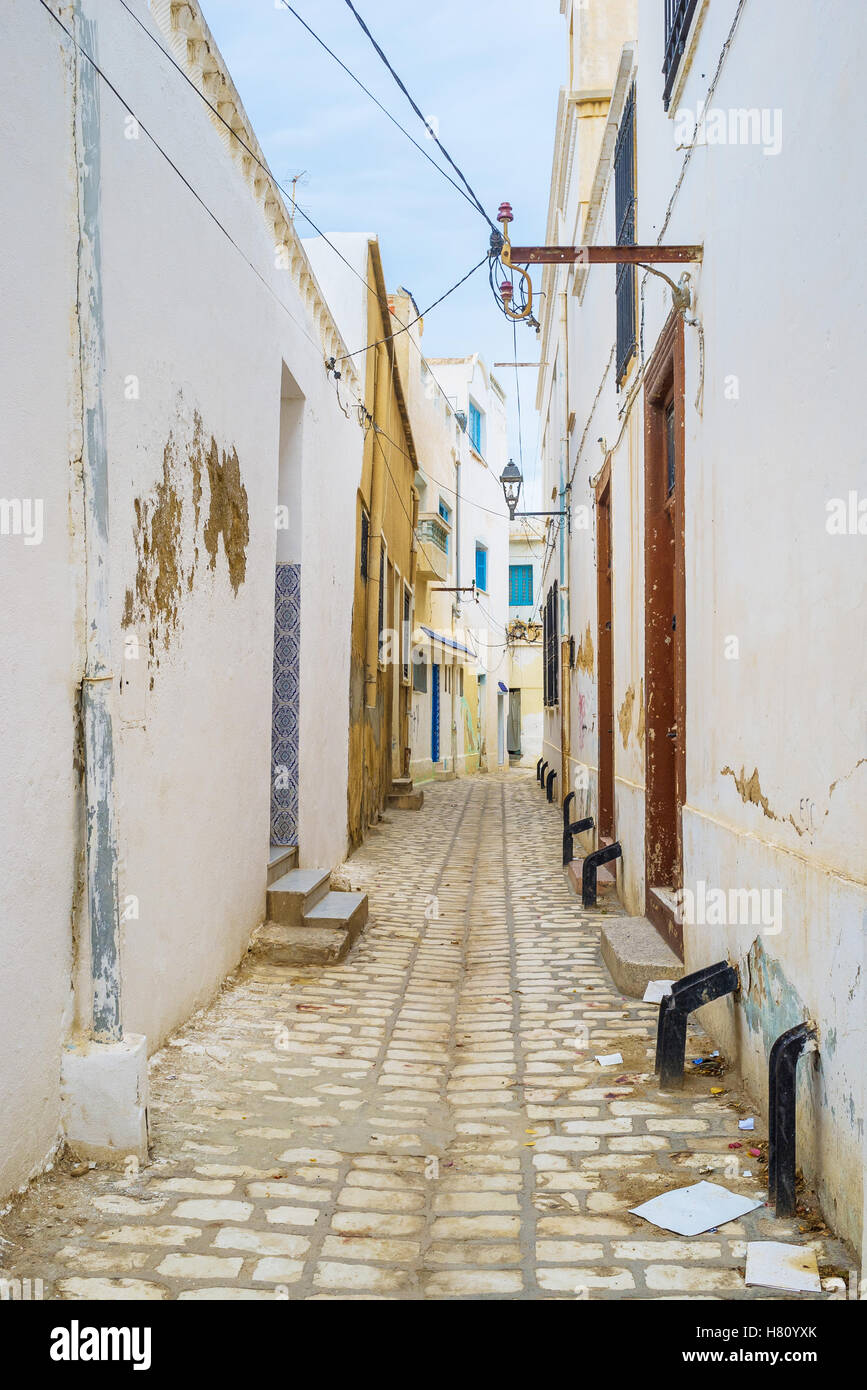 The old residential neighborhood of arabic Medina of Sousse, Tunisia. - Stock Image