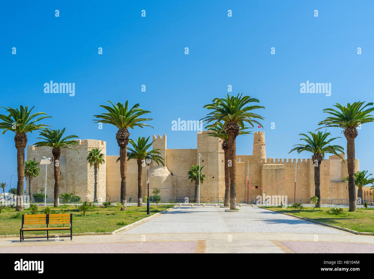 Ribat fortress is the visit card of Monastir, Tunisia. - Stock Image