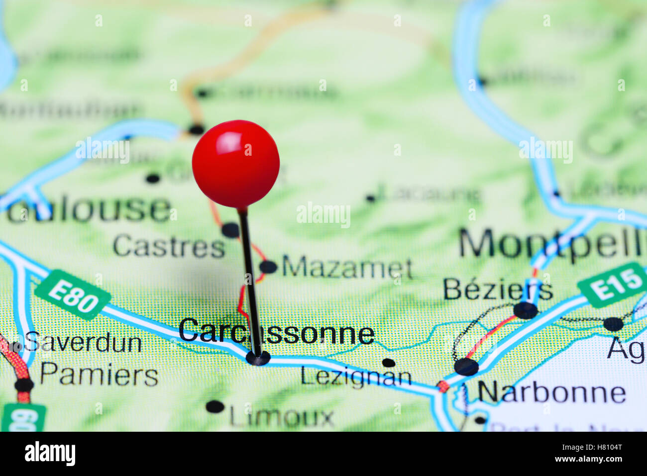 Map Of France Carcassonne.Carcassonne Pinned On A Map Of France Stock Photo 125411912 Alamy