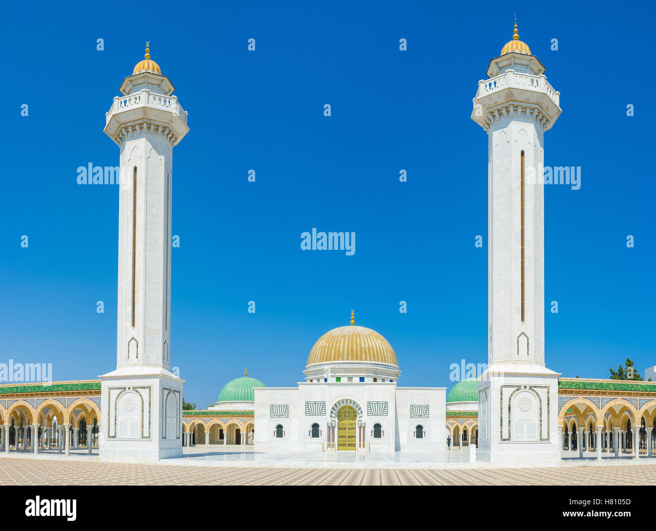 The mausoleum of Habib Bourgiba is the famous landmark and one of the most visitable sights in Monastir, Tunisia. - Stock Image