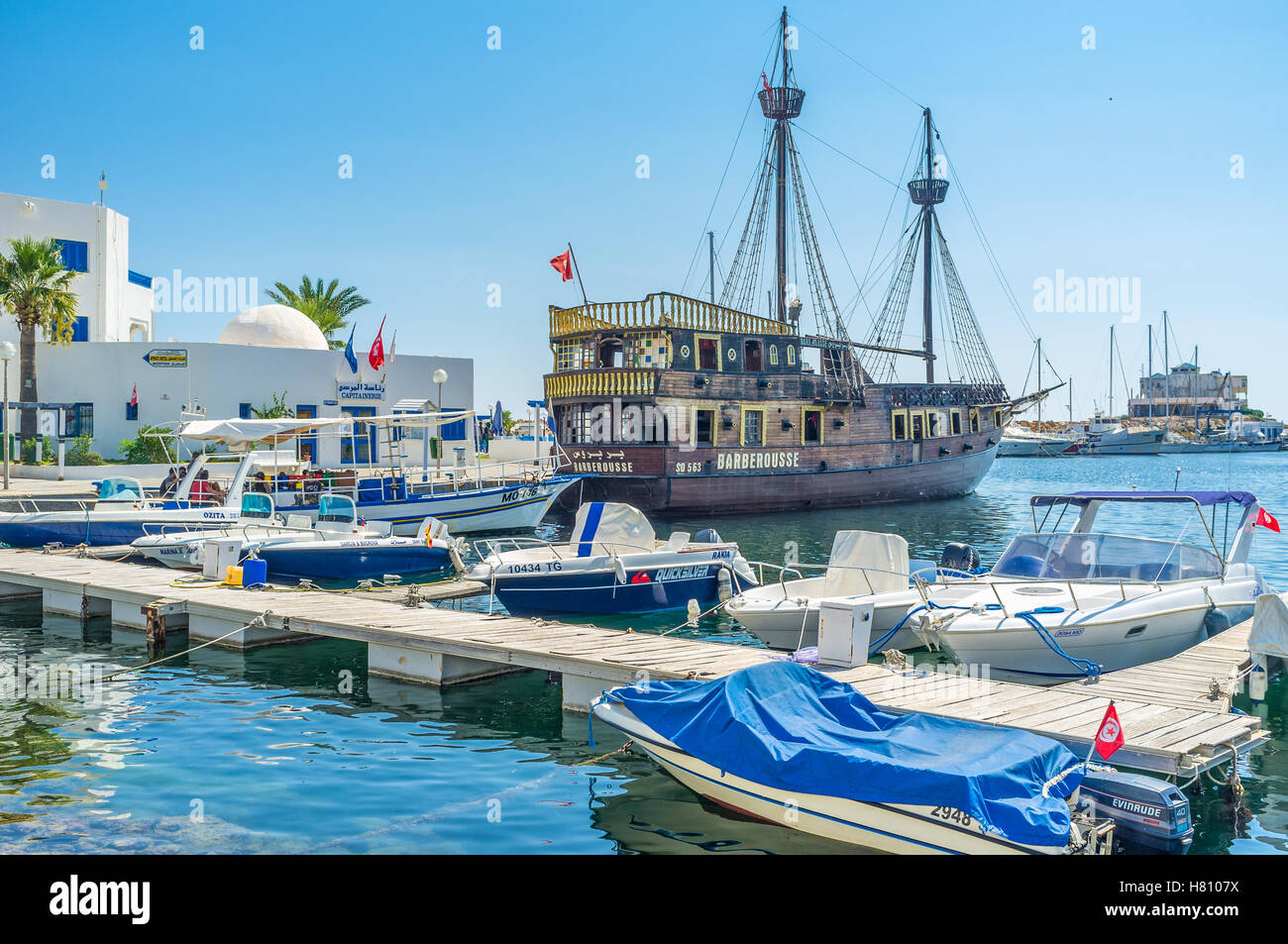 All the resorts of Tunisia boast the beautiful wooden pirate galleons for the tourist enjoy, Monastir - Stock Image
