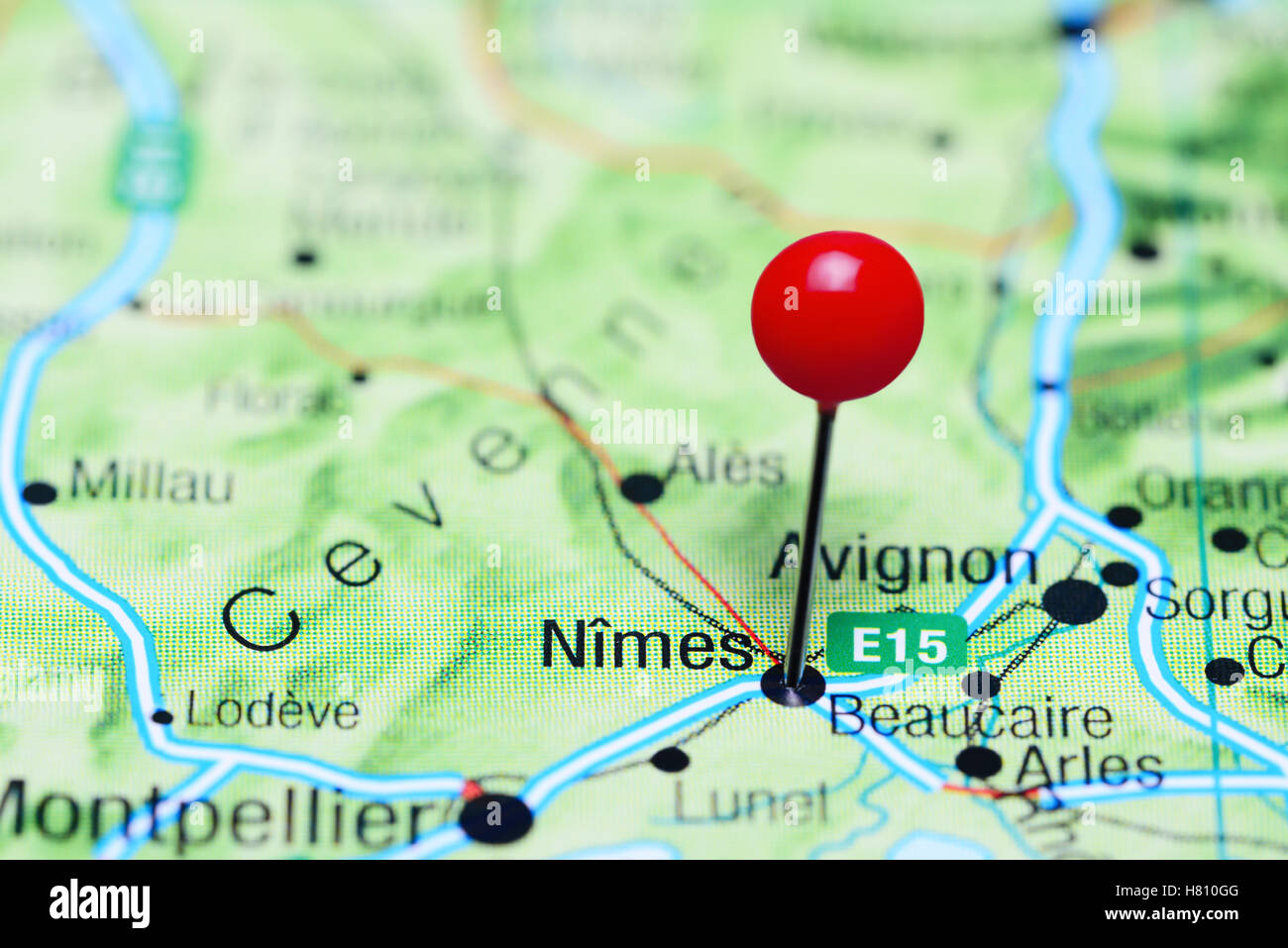 Nimes Pinned On A Map Of France Stock Photo 125412240 Alamy