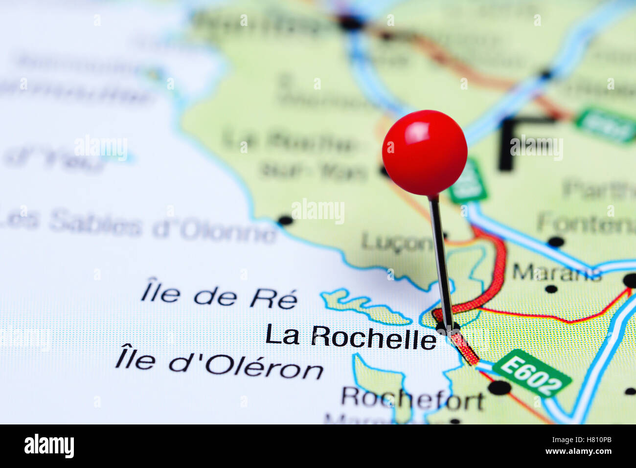 Map Of France La Rochelle.La Rochelle Pinned On A Map Of France Stock Photo 125412403 Alamy