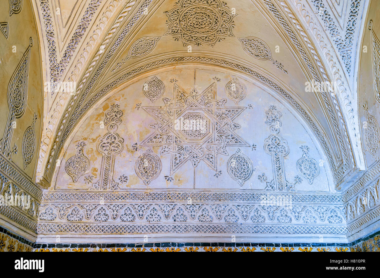 The old mansion decorated in Andalusian style with the carved islamic patterns on walls and ceiling, El Kef - Stock Image