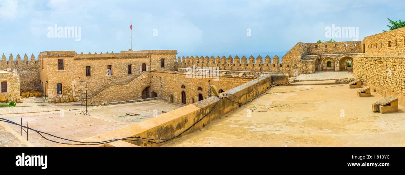 Panorama of the Grand Fort, that is the part of the large Kasbah of El Kef, Tunisia. - Stock Image
