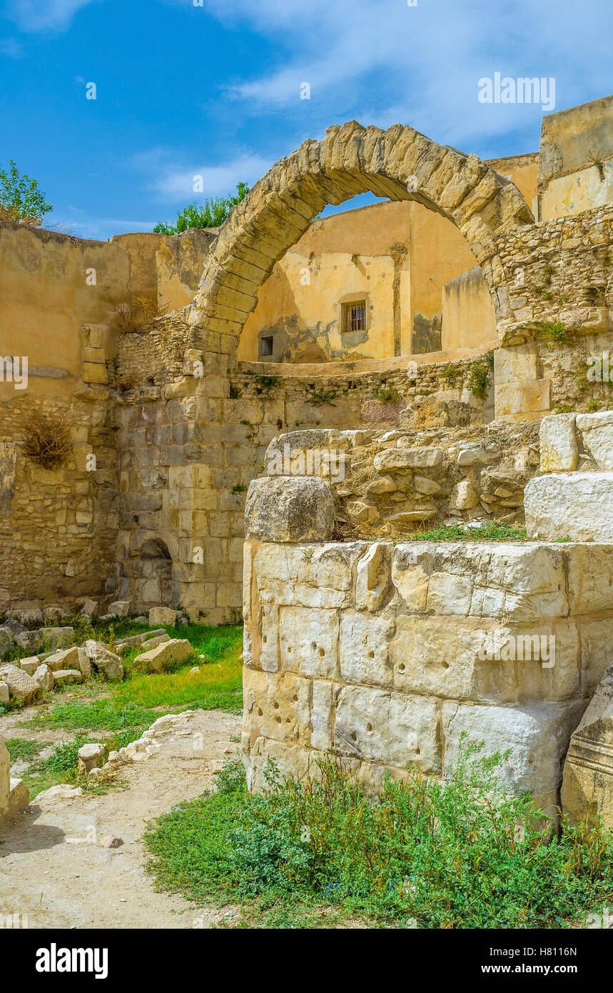 The archaeological site of the Roman Baths is one of the largest and most interesting in El Kef, Tunisia. - Stock Image