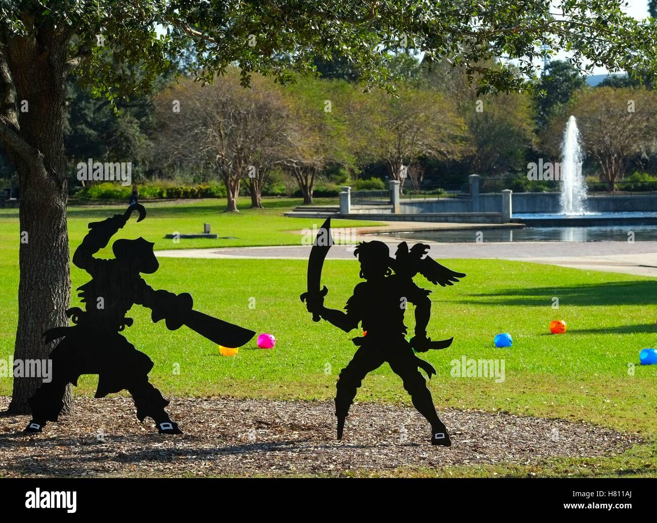 Cutouts of Pirates Fighting - Stock Image