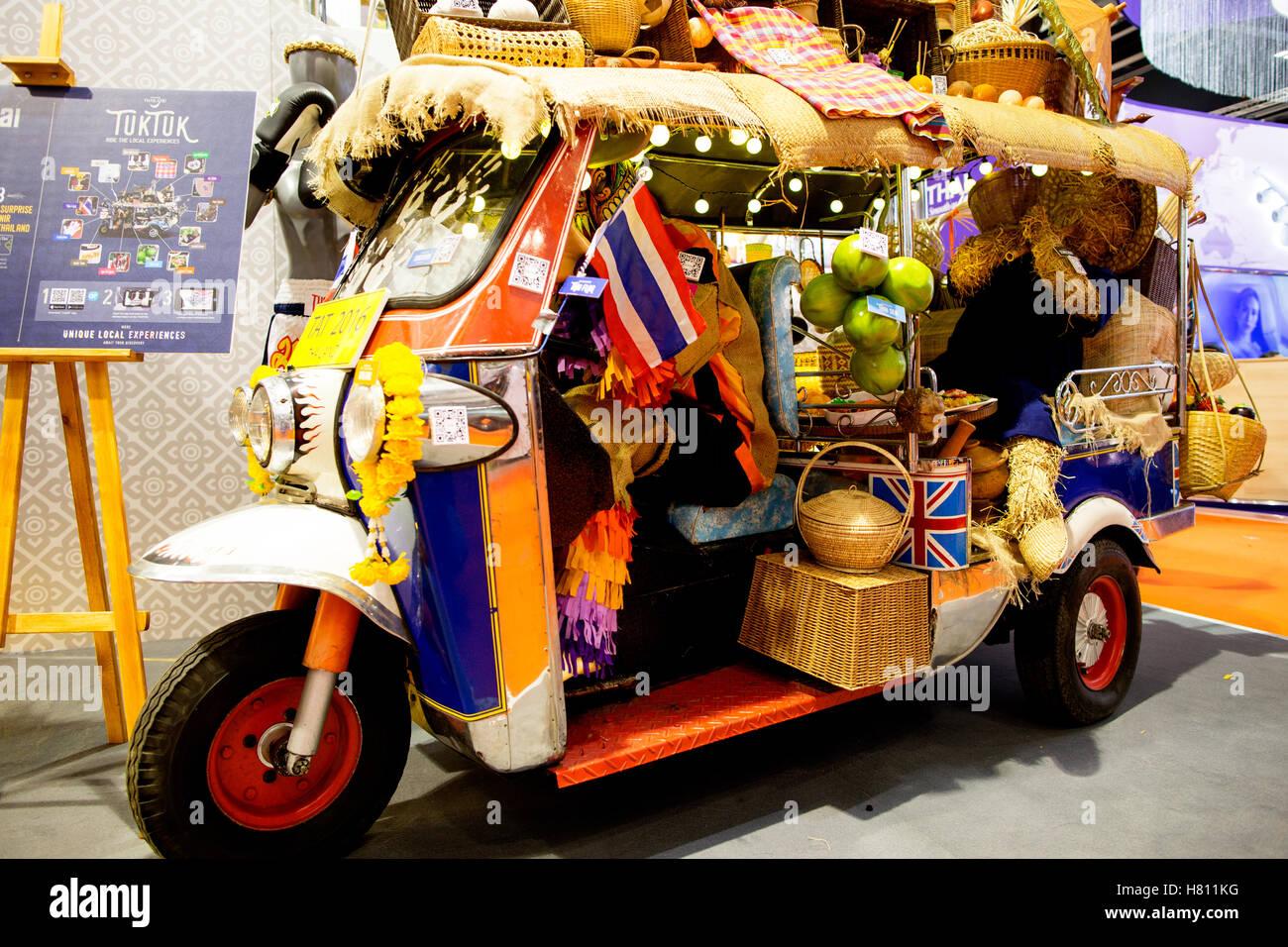 Thai Tuk Tuk Travel Show London UK - Stock Image