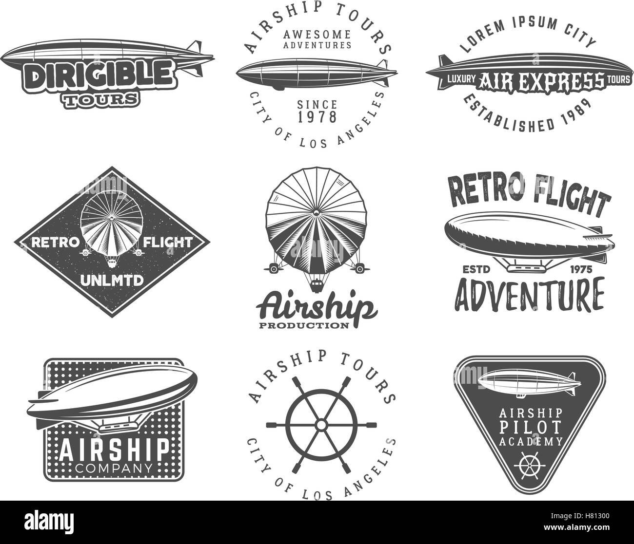 Vintage airship logo designs set. Retro Dirigible badges collection. Airplane Label vector design. Old sketching - Stock Image