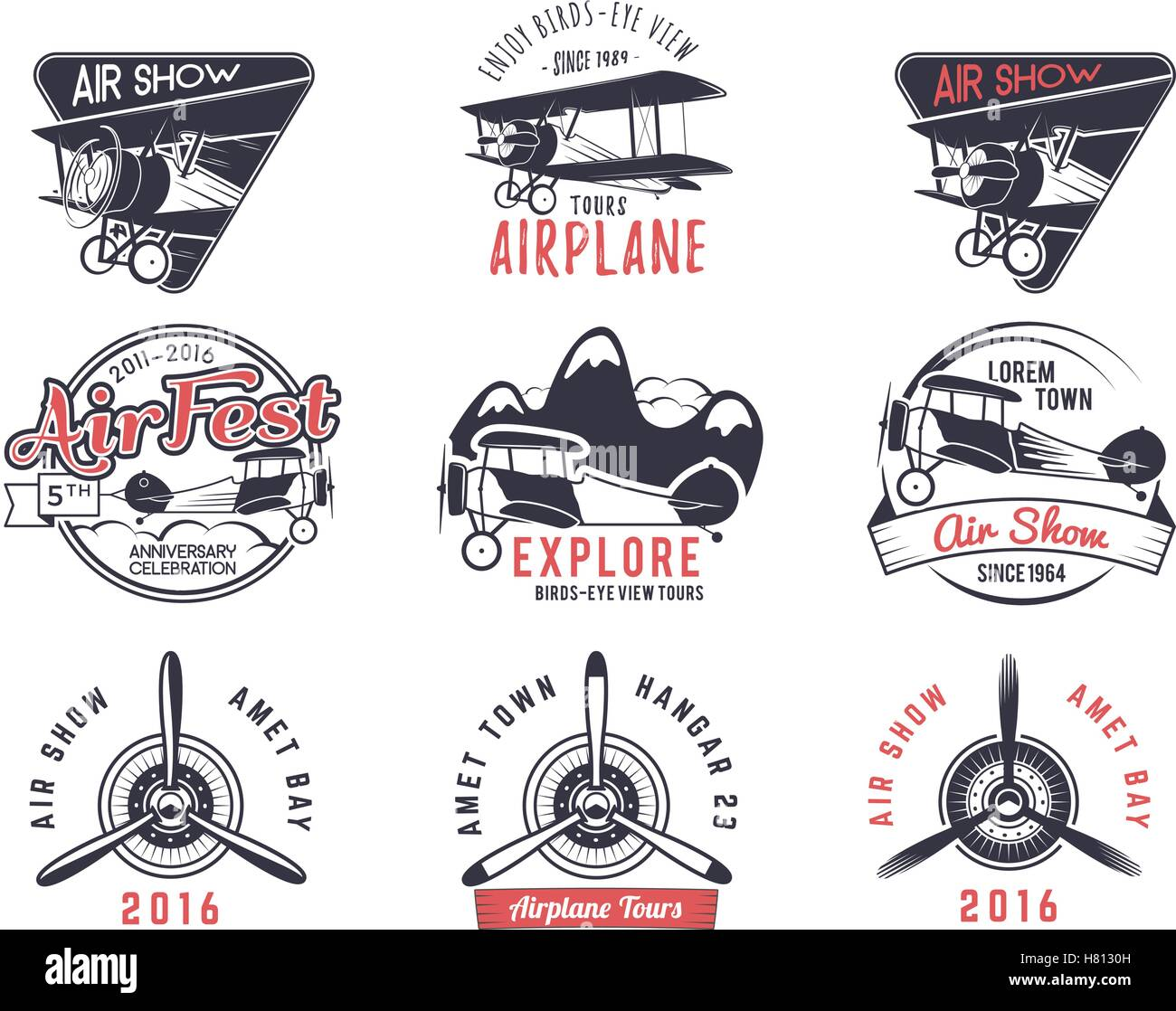 vector old fly stamps travel or business airplane tour