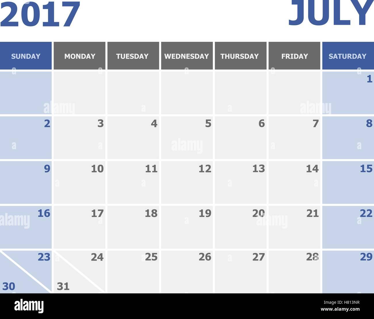 2017 July Calendar Week Starts On Sunday Stock Photos & 2017