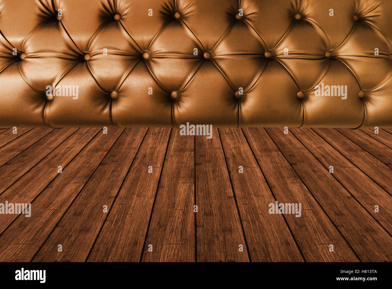 Dark Brown Leather Seat With Dark Wood Texture Plank Panel Timber  Background   Stock Image