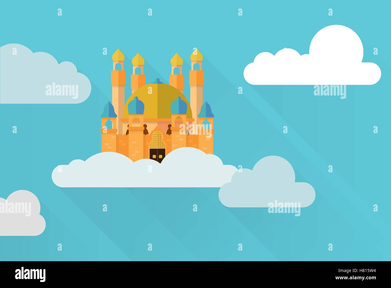 Flat design fantasy castle in the sky vector illustration - Stock Image