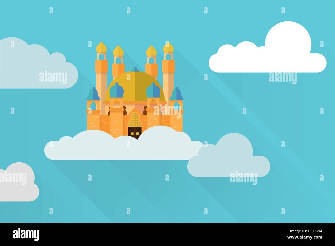 Flat design fantasy castle in the sky vector illustration - Stock Vector