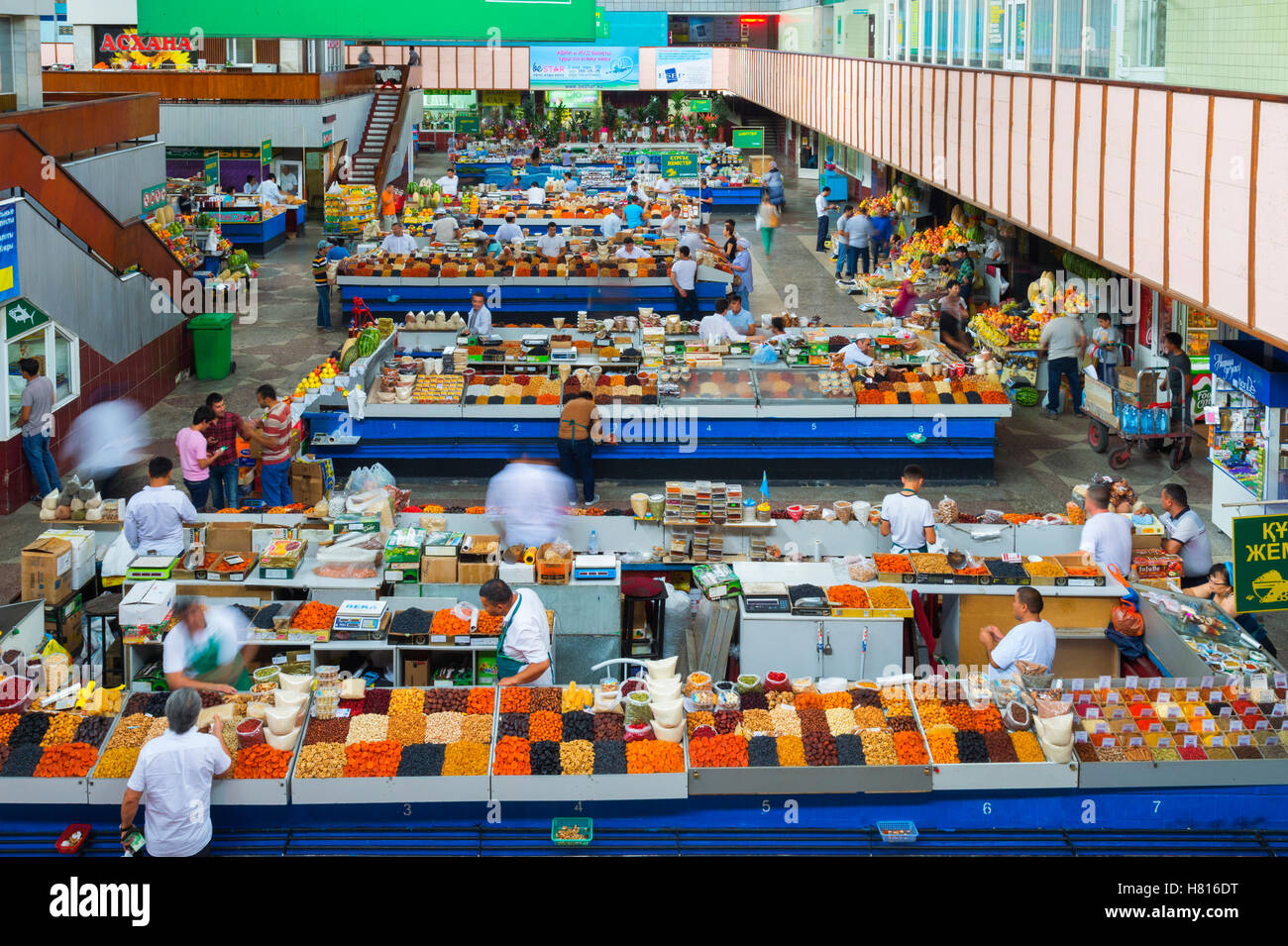 Zelyony Bazar or Green Market, Dried fruit section, Almaty, Kazakhstan, Central Asia - Stock Image