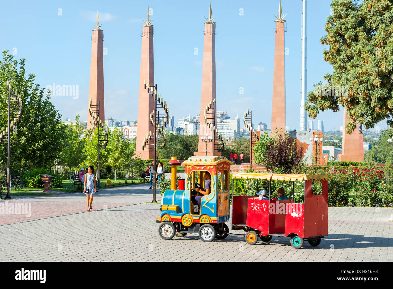 Granit obelisk and lamp post, Independence Park, Shymkent, South Region, Kazakhstan, Central Asia Stock Photo