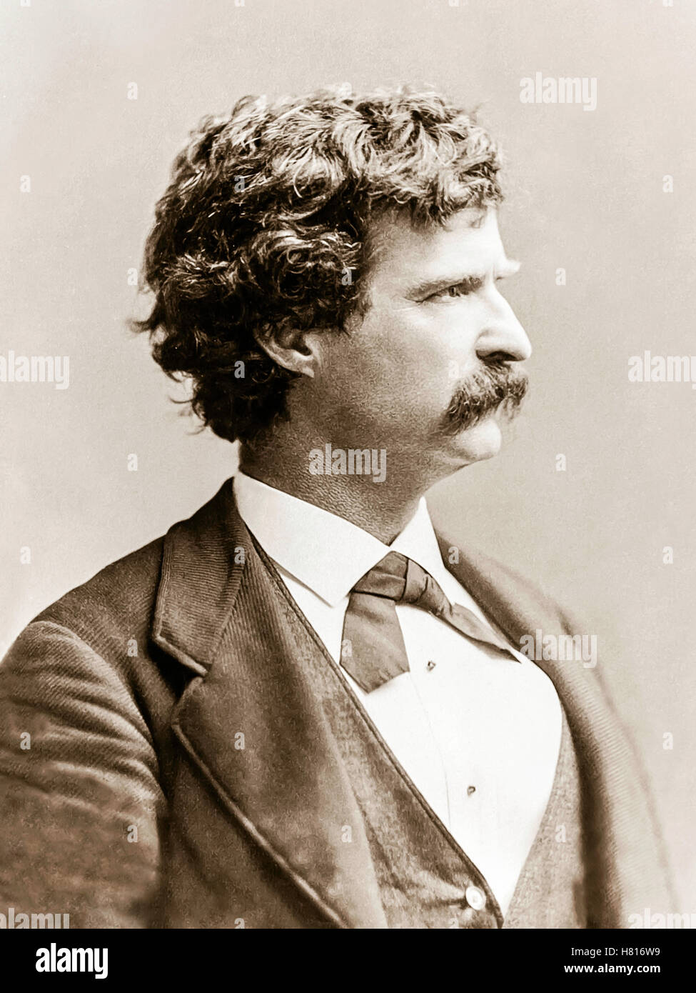 """Mark Twain (1835-1910) photograph from 1869, the same year """"The Innocents Abroad, or The New Pilgrims' Progress"""" Stock Photo"""