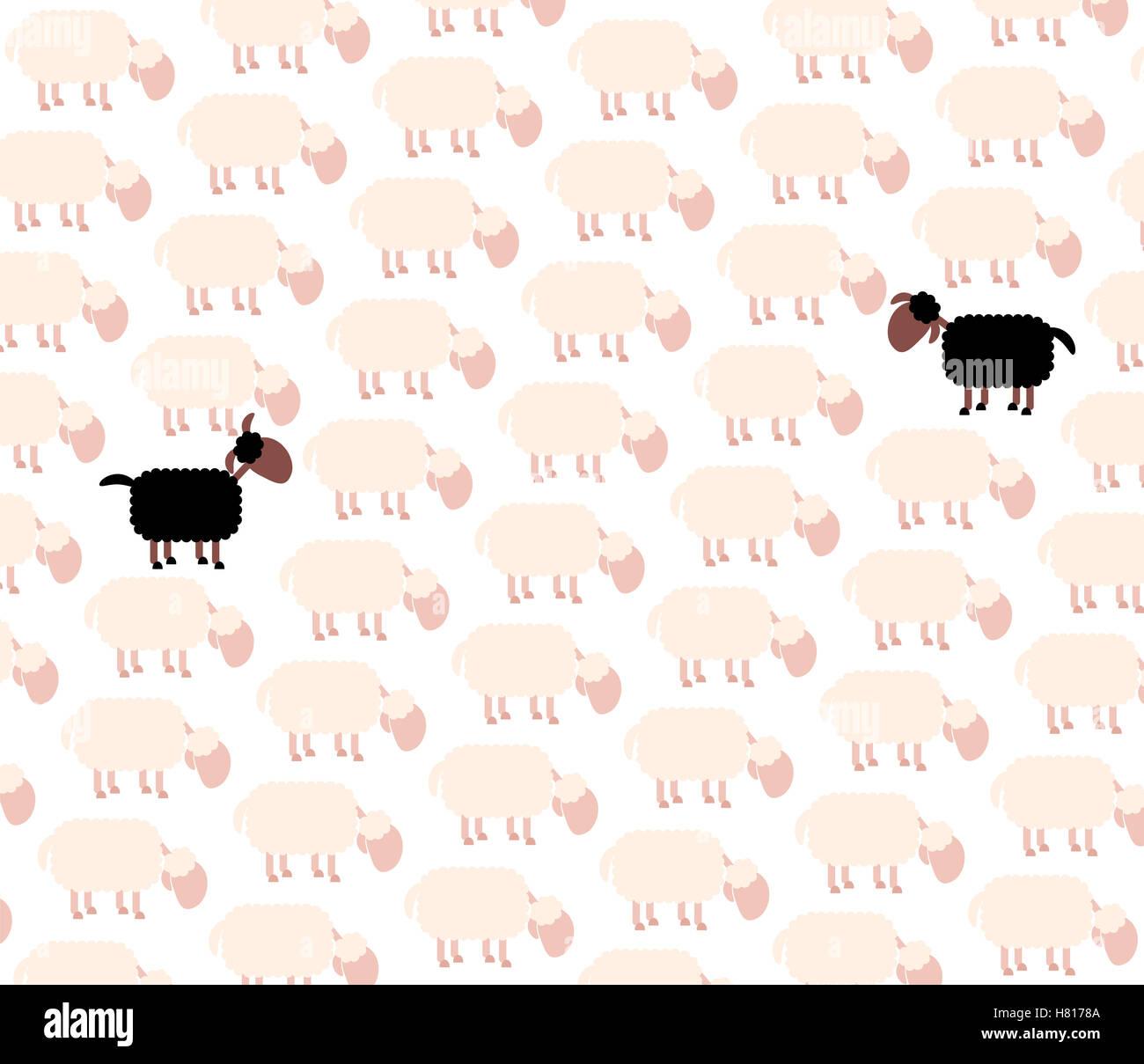 Black sheep - fellow sufferer - among white sheep flock. - Stock Image