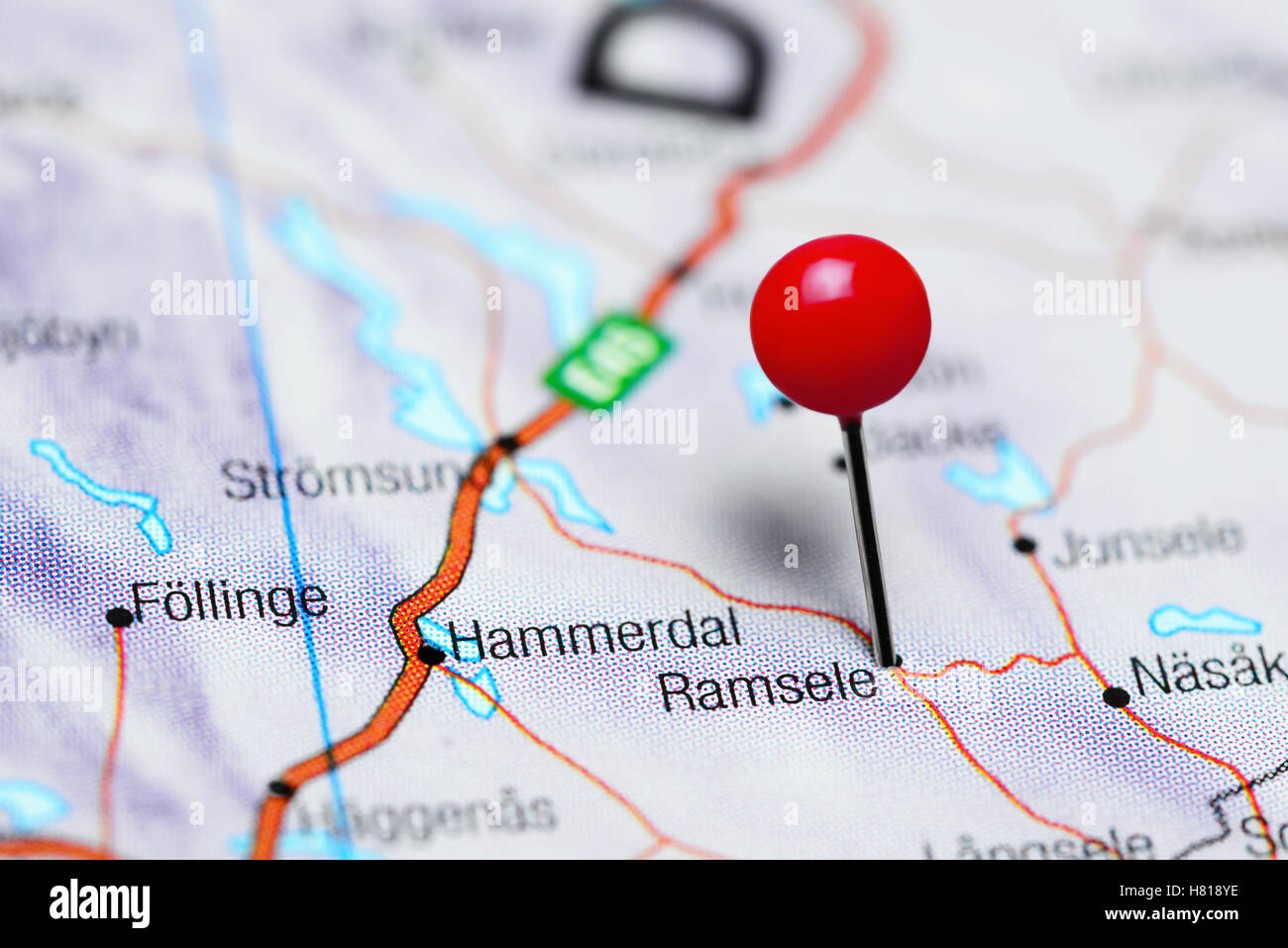 Ramsele pinned on a map of Sweden - Stock Image