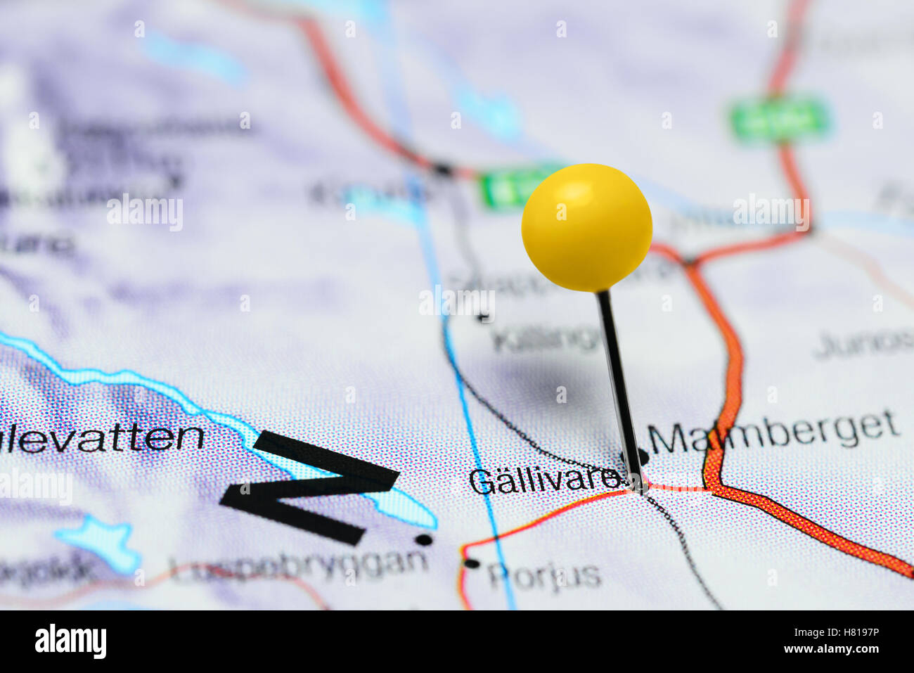 Gallivare pinned on a map of Sweden - Stock Image