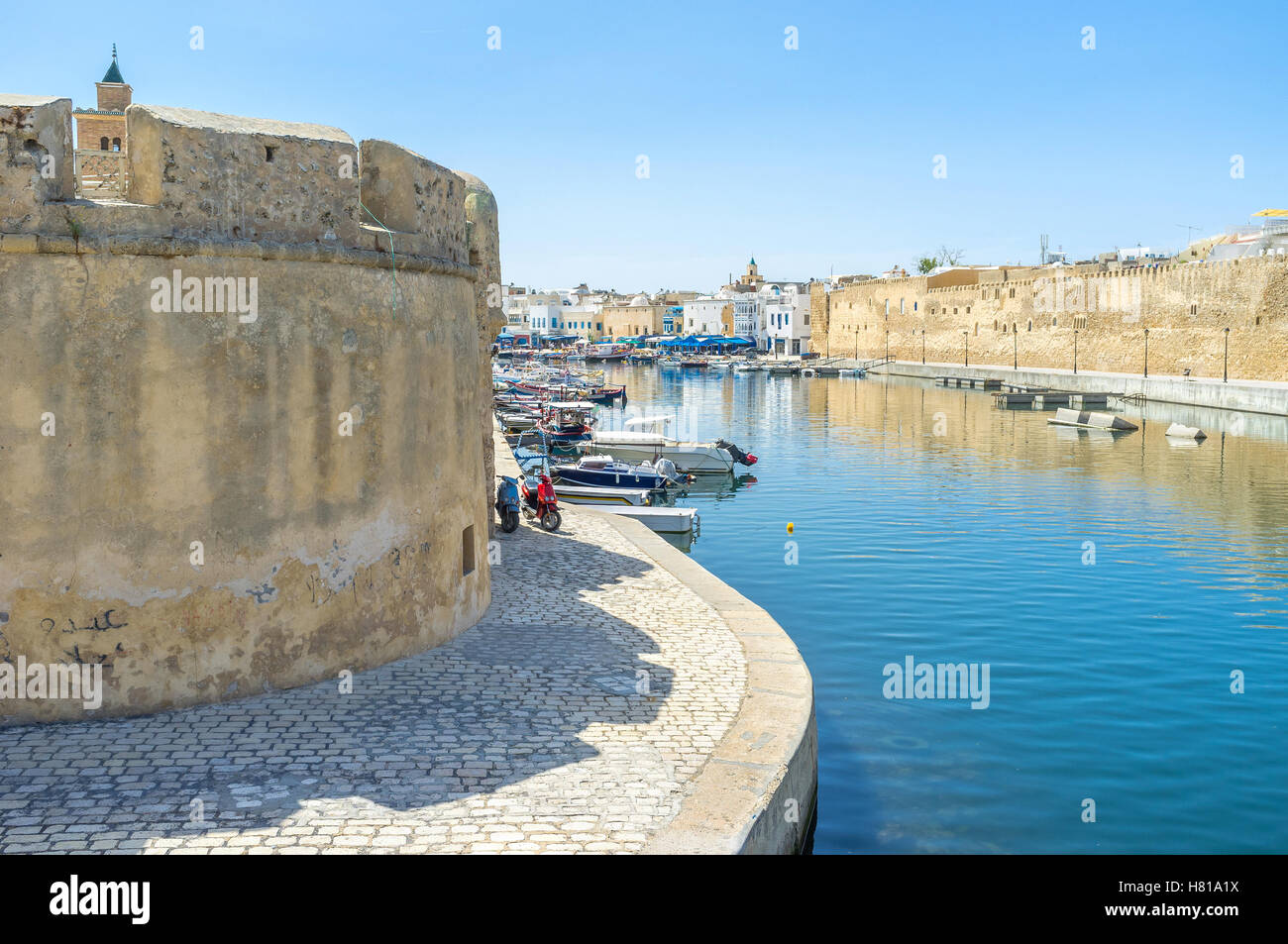 The old fishing port is the heart of Bizerte, so its fishermen's town, Tunisia. - Stock Image
