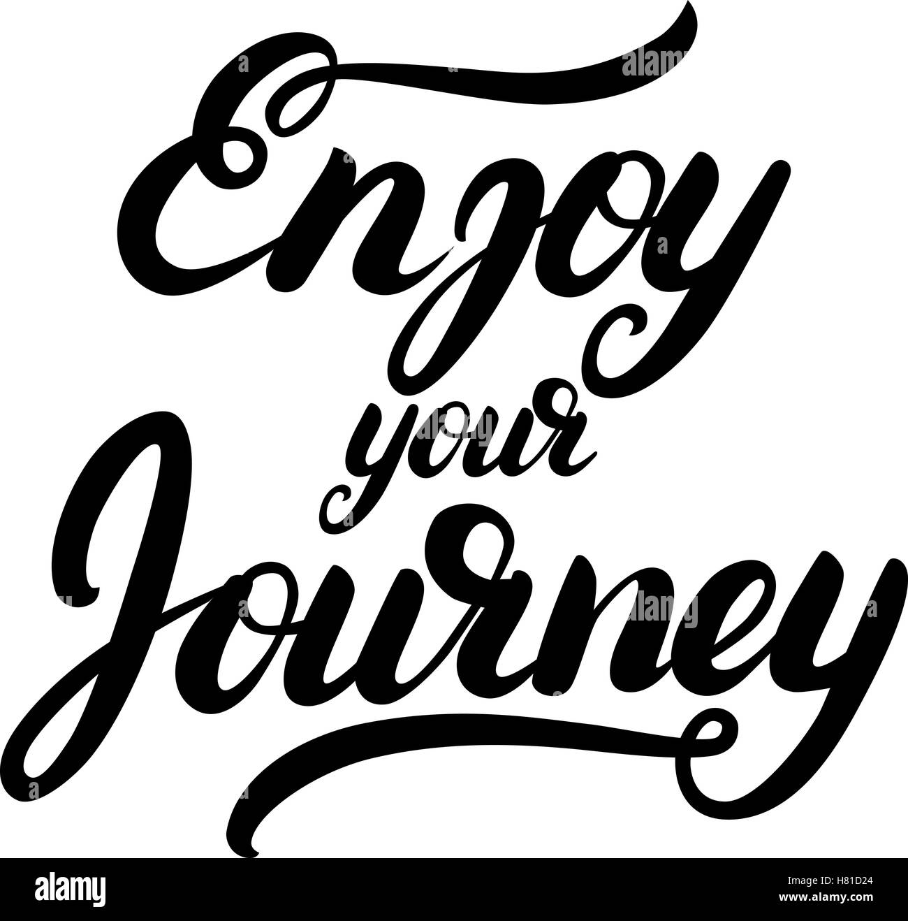 Enjoy your journey hand written calligraphy lettering. Inspirational quote for greeting card, poster, tee print. - Stock Vector