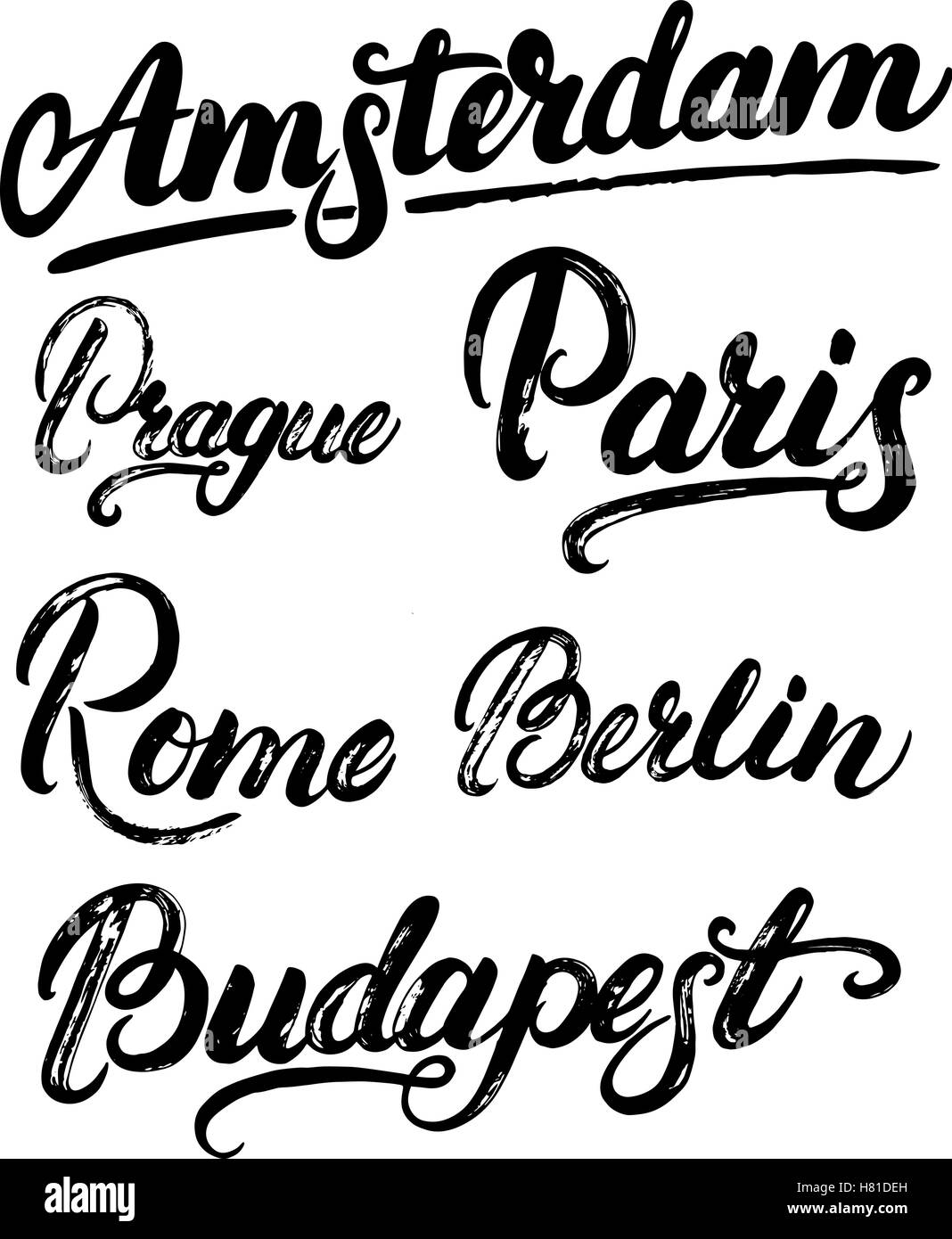 Collection Of European Capitals Amsterdam Berlin Paris Rome Prague Budapest City Names Hand Written Lettering Modern Brus