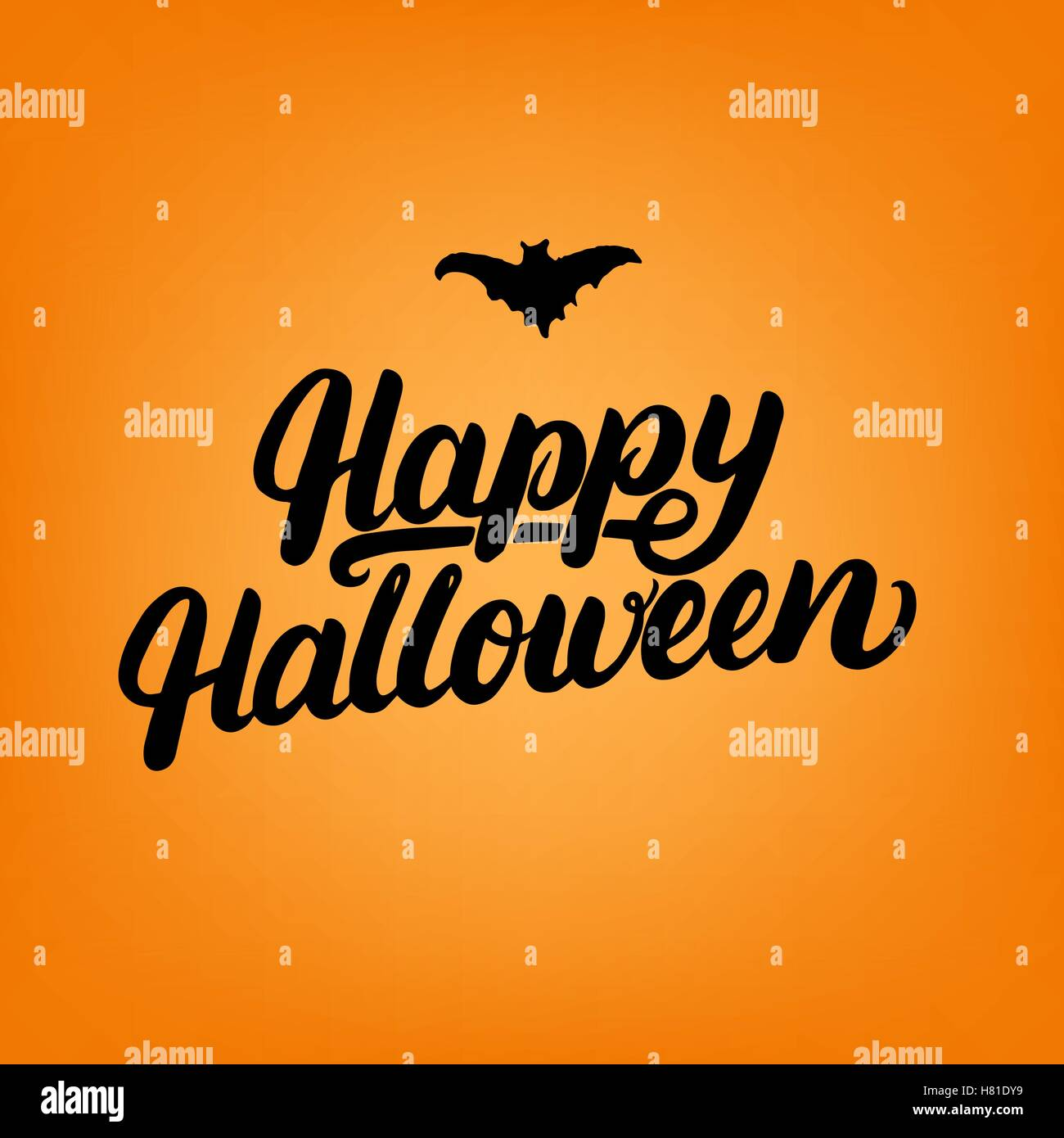 Happy Halloween Hand Written Lettering Card Modern Brush