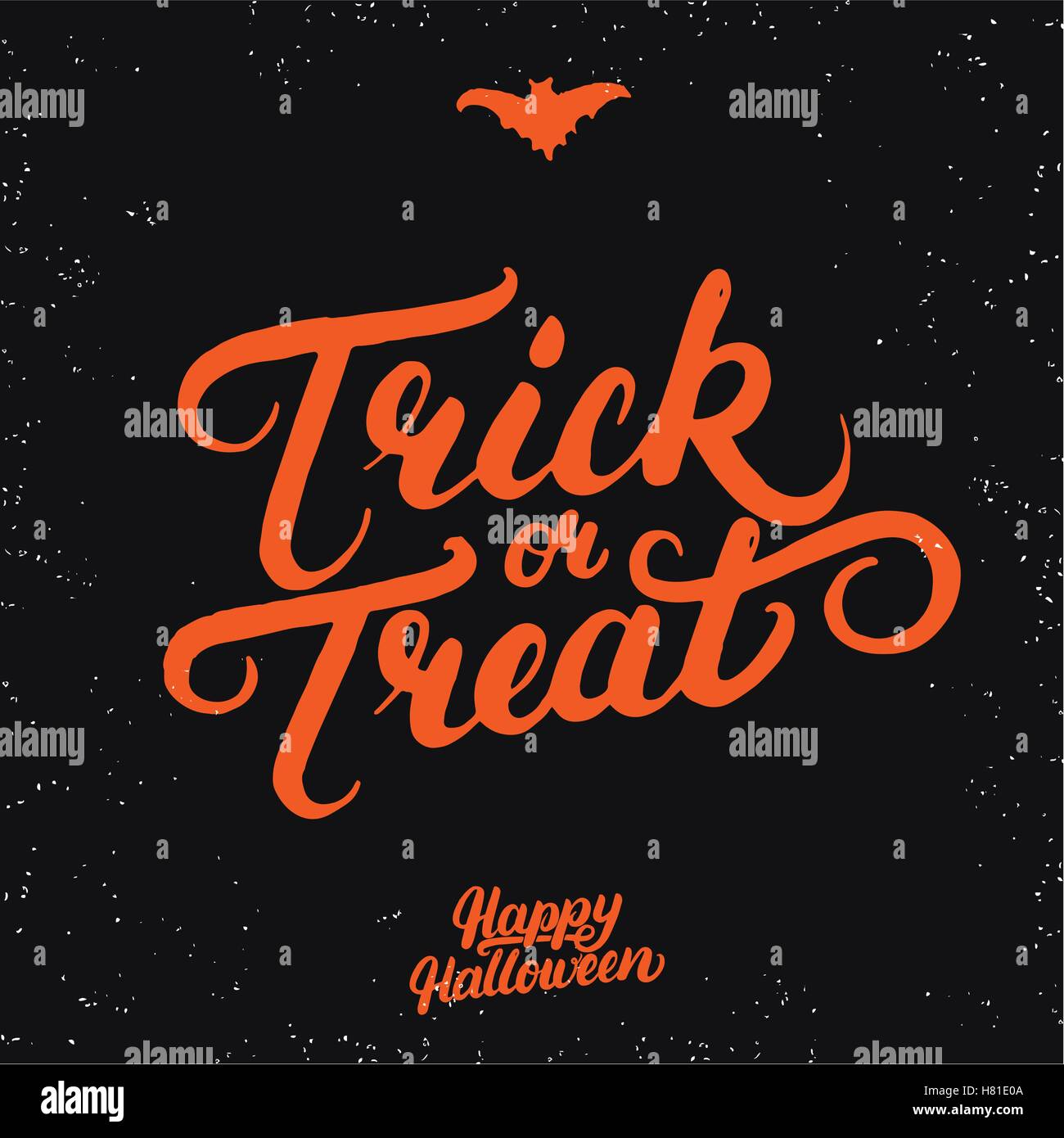 Trick Or Treat Hand Written Lettering. Modern Brush Calligraphy.  Inspirational Quote For Halloween Card