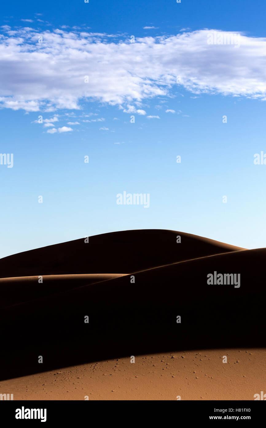 Morocco, Erg Chebbi, sand dunes in the Sahara Desert near Merzouga - Stock Image