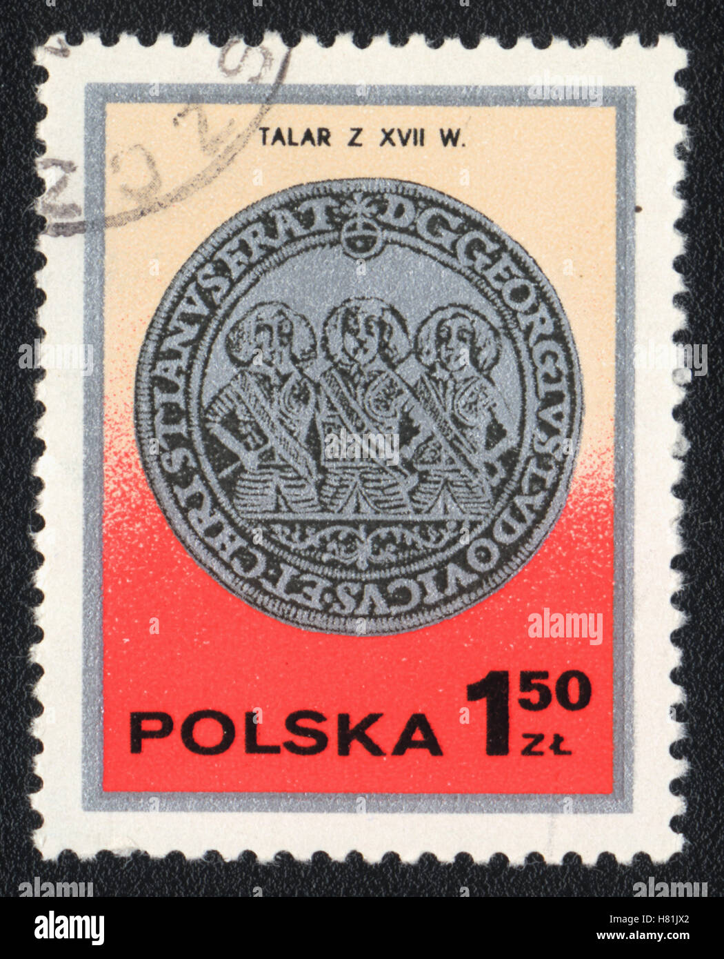The postage stamp printed in Poland  shows Thaler  silver coin XVII, circa 1982 - Stock Image