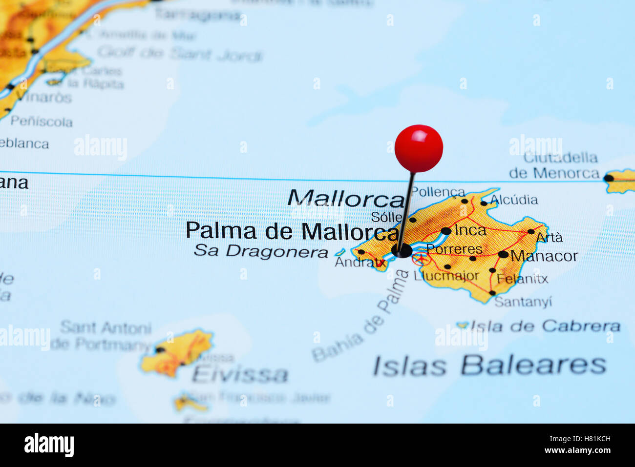 Palma De Mallorca Pinned On A Map Of Spain Stock Photo 125427025
