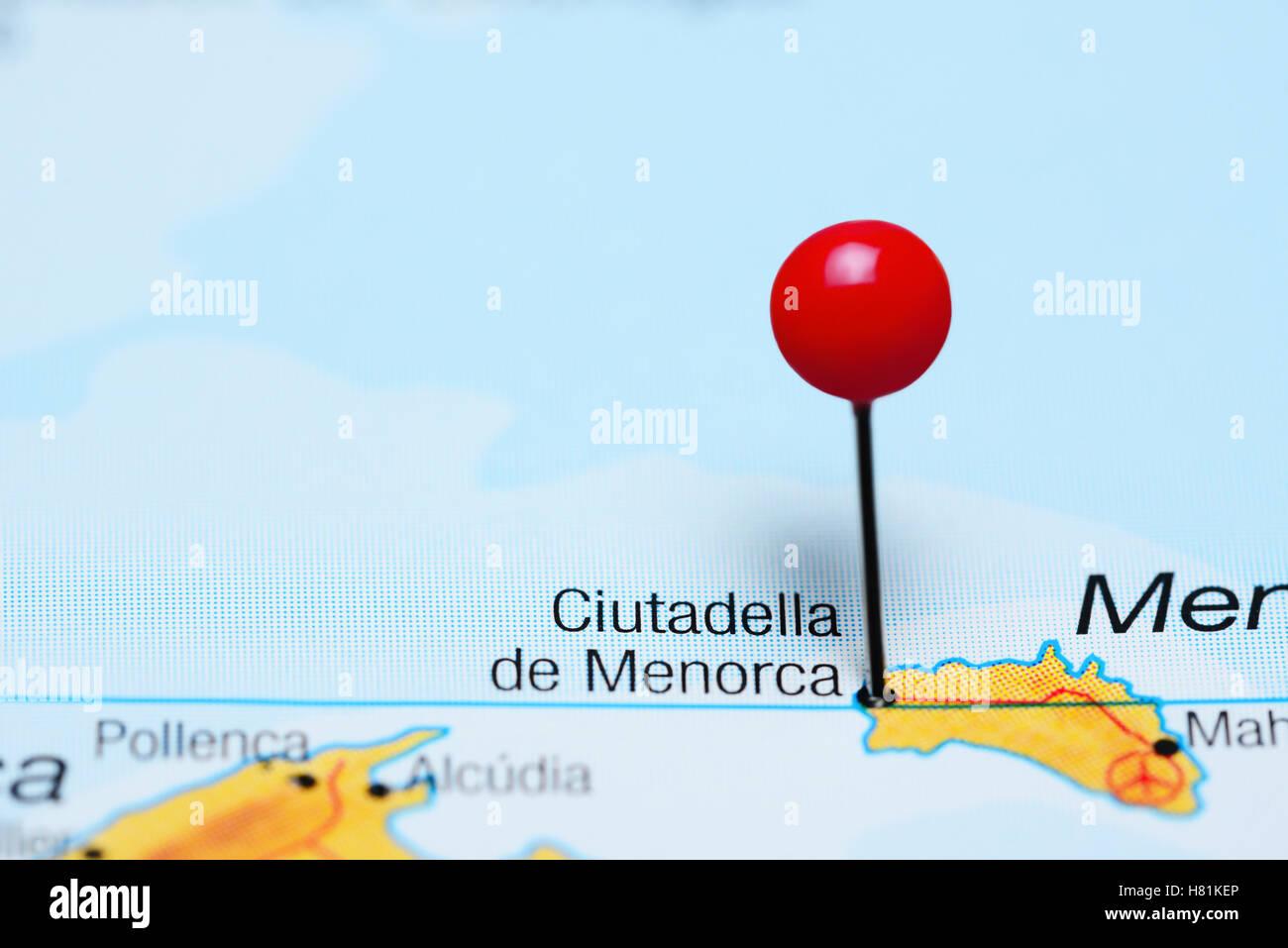 Ciutadella De Menorca Pinned On A Map Of Spain Stock Photo