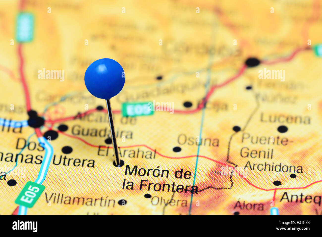 Moron Spain Map.Moron De La Frontera Pinned On A Map Of Spain Stock Photo 125427230