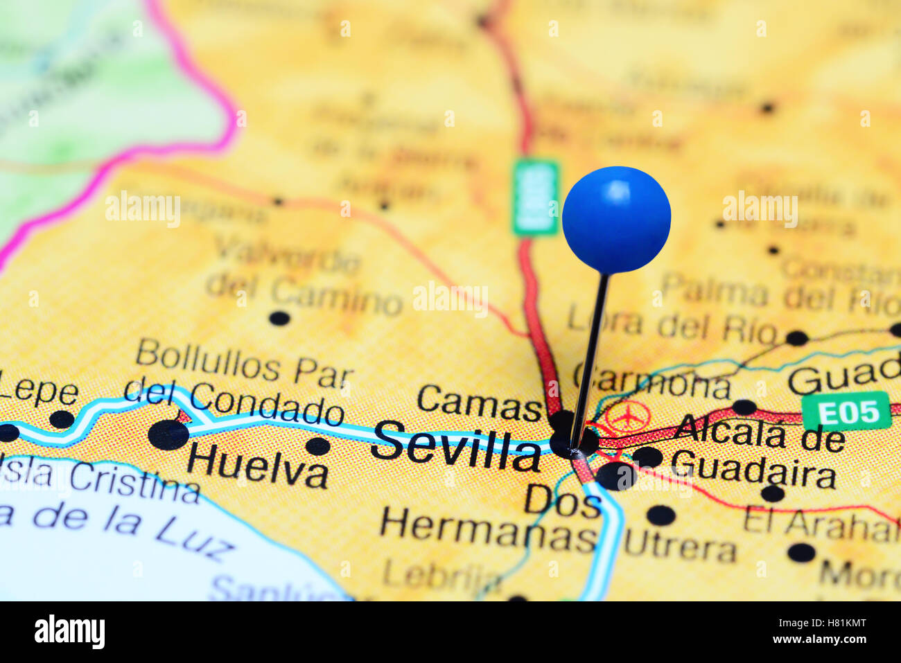 Sevilla Pinned On A Map Of Spain Stock Photo 125427256 Alamy