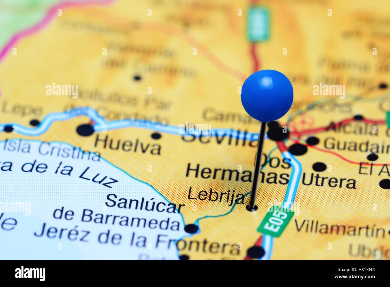 Lebrija Pinned On A Map Of Spain Stock Photo 125427283 Alamy