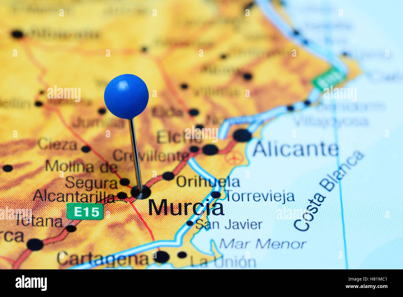 Murcia Pinned On A Map Of Spain Stock Photo 125427793 Alamy