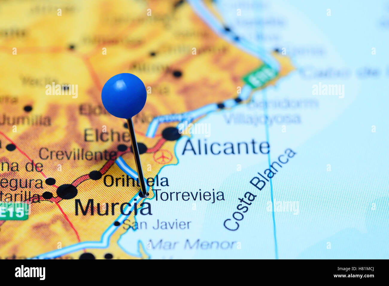 Torrevieja Pinned On A Map Of Spain Stock Photo 125427810 Alamy