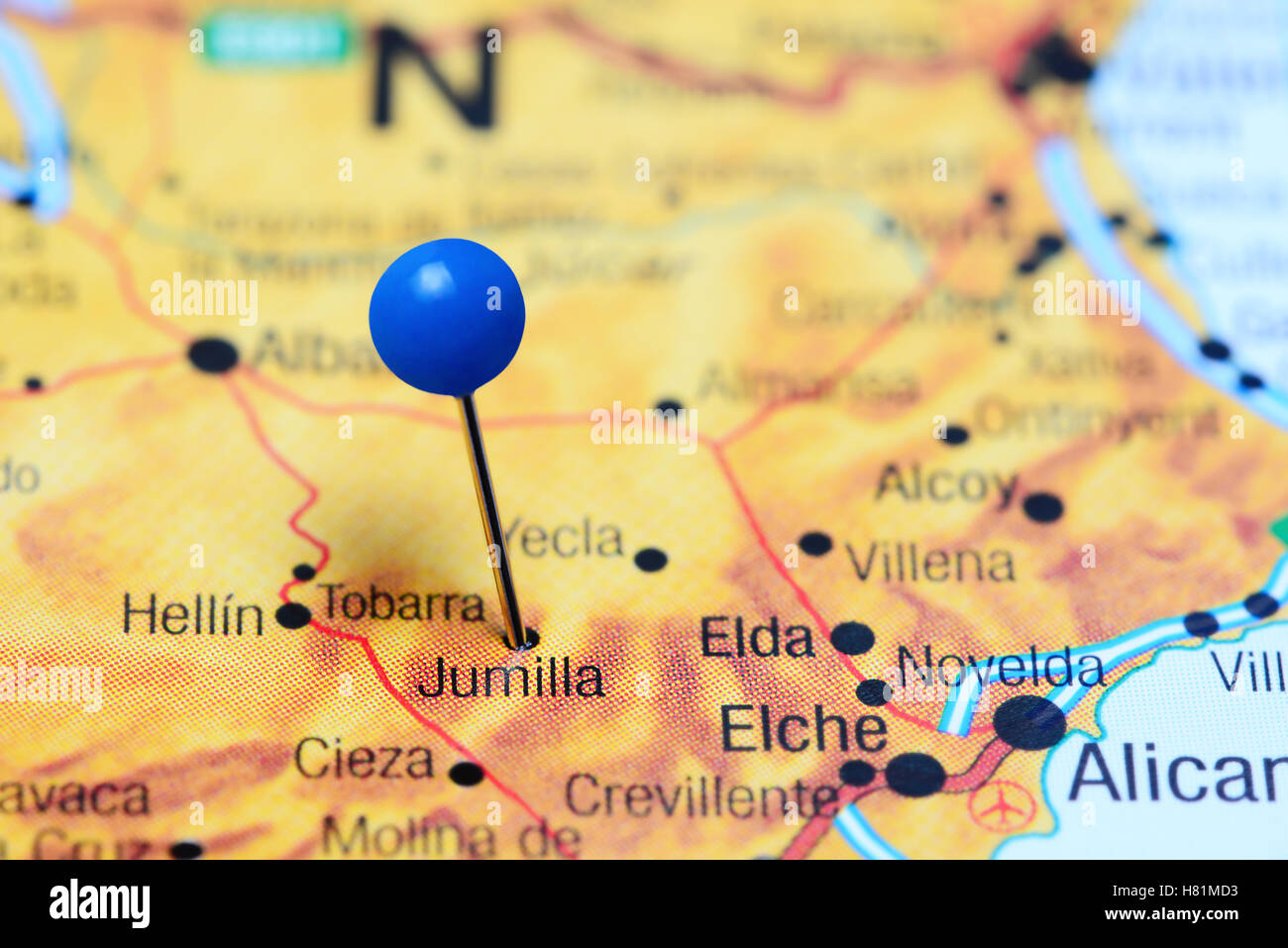 Jumilla Pinned On A Map Of Spain Stock Photo 125427823 Alamy