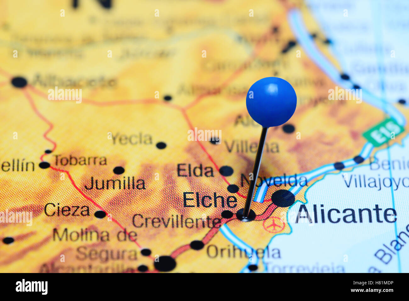 Elche Pinned On A Map Of Spain Stock Photo 125427842 Alamy