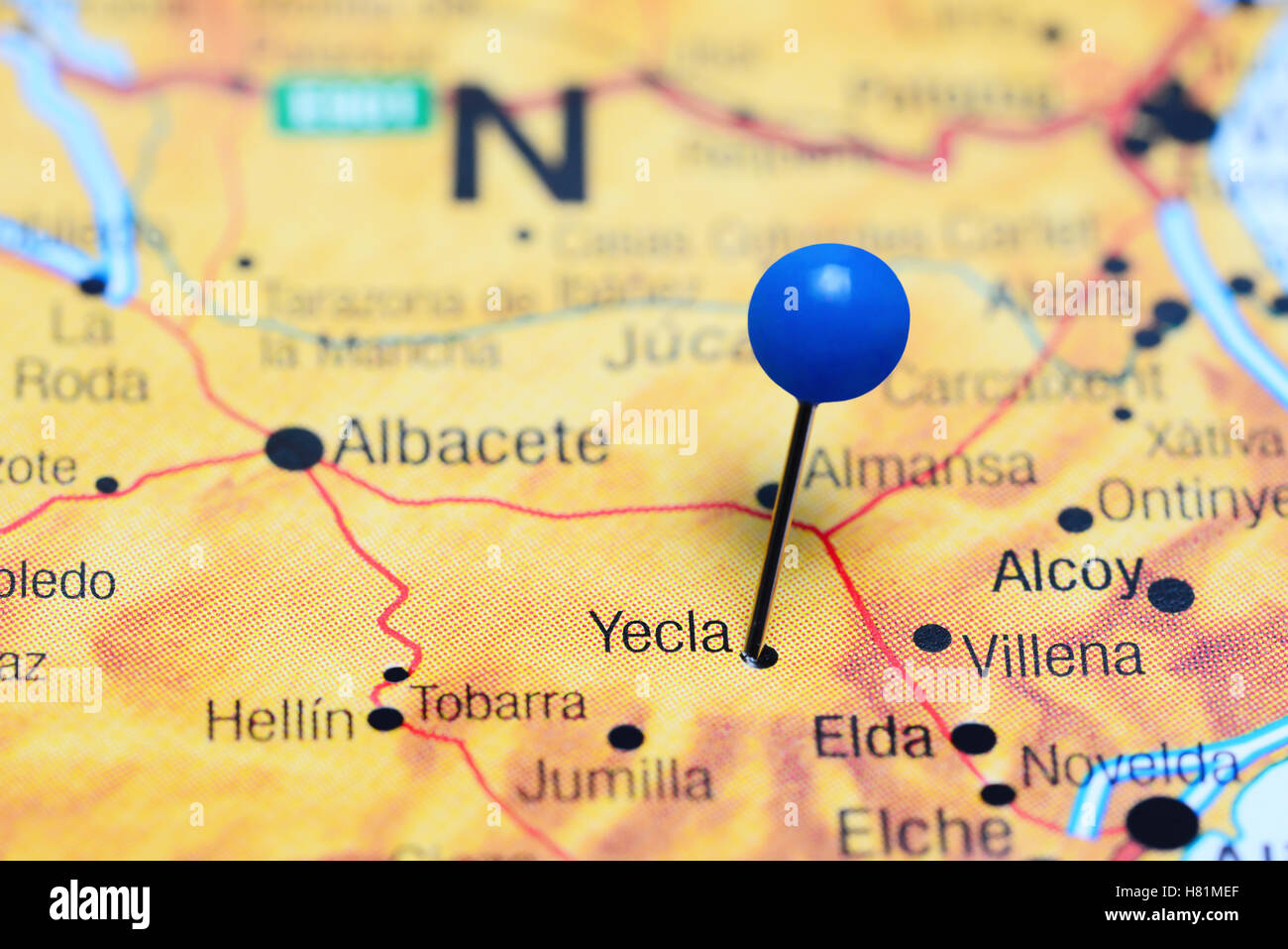 Map Of Yecla Spain.Yecla Pinned On A Map Of Spain Stock Photo 125427863 Alamy