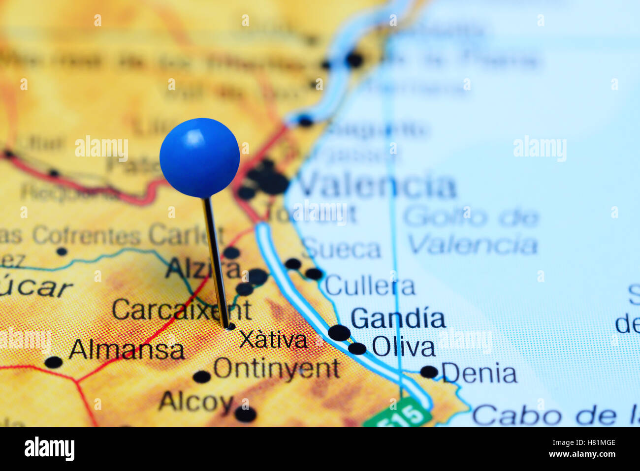 Map Of Xativa Spain.Xativa Pinned On A Map Of Spain Stock Photo 125427918 Alamy