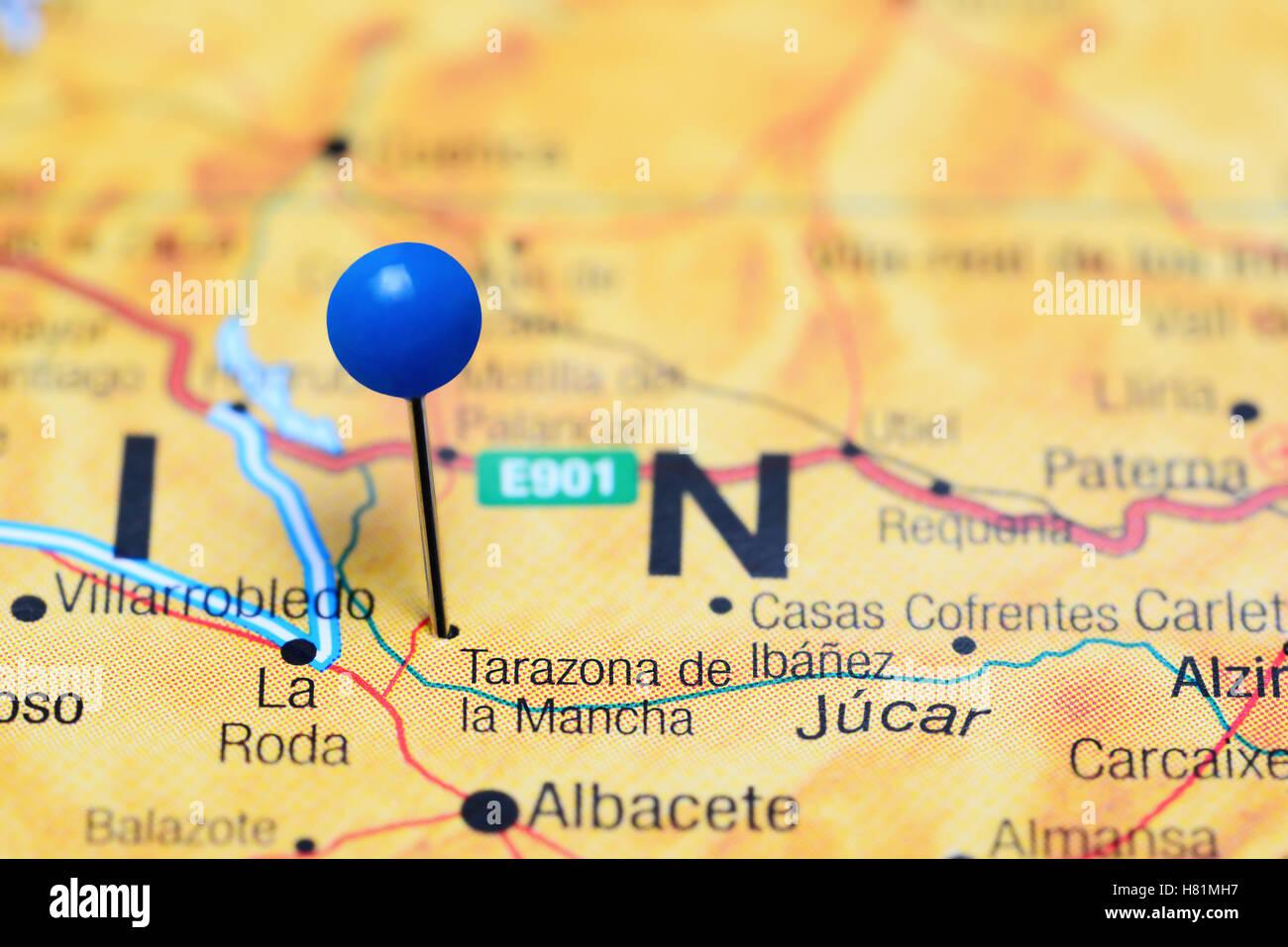 Tarazona De La Mancha Pinned On A Map Of Spain Stock Photo